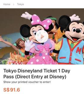Tokyo Disneyland Ticket 1 Day Pass (Direct Entry at Disney)