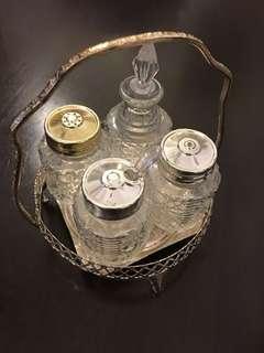 Kitchen Glass Seasonings Pot w/ Alluminium Tray