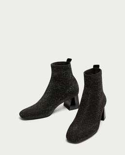 Zara Glitter Sock Ankle Boots