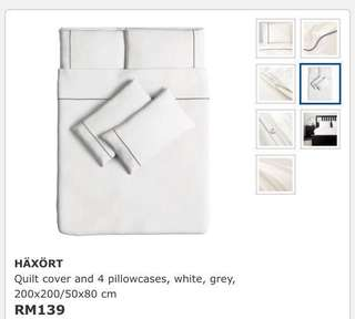 Ikea Haxort (Queen) Quilt Cover With 4 Pillowcase, Whit/Grey (200x200cm)