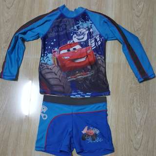 Get ready for summer!!Preloved Cars rashguard medium size 4 to 6 yrs old