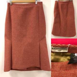 Balenciaga red beige wool skirt size 38