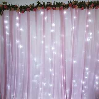 Pink floral backdrop for rent