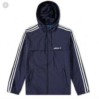 Adidas three stripes windbreaker jacket