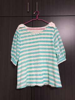 White and green striped top