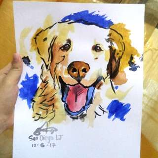 Animals Watercolor Painting with Frame