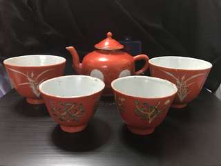 Qing Dynasty Coral Red tea set