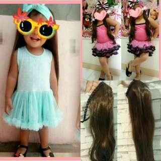Kids wig baby long hair like bikbik toddlers black straight girl babies wigs fake hair ootd