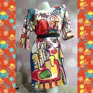 Multicolor tshirt dress