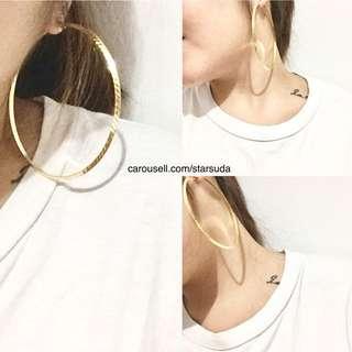 Large Stainless Round Hoop Earrings