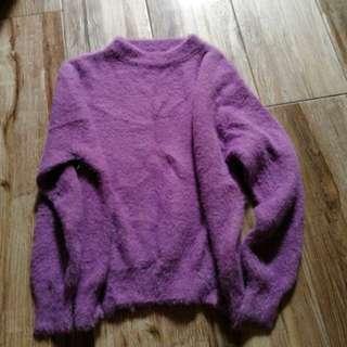 韓貨薰衣草色針織毛衣寬鬆全新