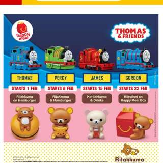 🚨POPULAR [Juniorcloset] 🆕 sealed 2018 Happy meal toy McDonald's Rilakkuma & Hamburger (×2)/ Thomas & Friends - thomas/ James (LAST PC)
