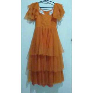 Ruffled gown for girls