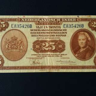 Mixture of2 banknotes,1x netherland Indies  1934 ,25 gulden(gvf) and 1 x Bangladesh 10 Dhaka 1972 A/1 prefix.(gvf)
