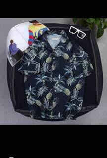 Korea ulzzang cotton short sleeve Hawaii shirt