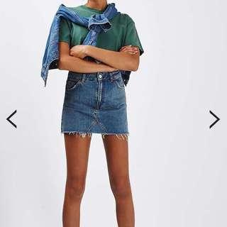 Topshop Petite High Rise Waisted Mini Denim Skirt Moto