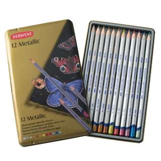 DERWENT 珍珠彩顏色鉛筆 鐵盒12色 英國製 金屬色木顏色
