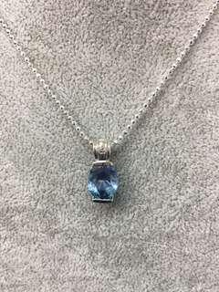 No:0245. 925純銀鑲天然藍晶石9x12x6mm吊墜 +頸鏈一套超直價