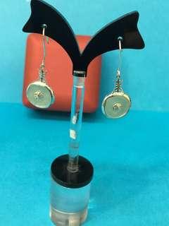 No:0244: 925純銀鑲天然緬甸A玉平安扣15x3mm 耳環超直價