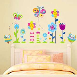 110X55cm owl flowers wall decal sticker