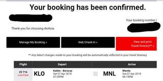 Airasia Plane Ticket Kalibo to Manila