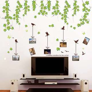 150X100cm photo frame green leaves wall decal sticker