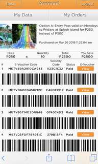 Splash Island Voucher