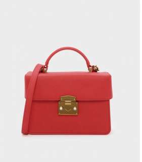 Charles and Keith TOP HANDLE FRONT FLAP BAG