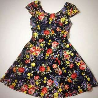 Black Fitted Floral Dress