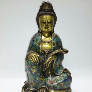 「景泰藍觀音菩薩銅造像」