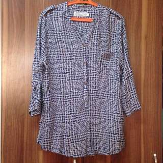 Calypso Navy blue printed blouse top plus size XL