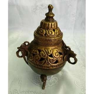 甘丹佛教文物~^^尼泊爾 手提煙供爐*吊爐* (煙供粉 除障香 聚財 桃花 開運)小
