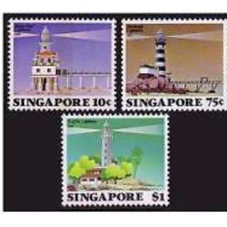 Clearing at Face Value: Singapore 1982 Lighthouse Set of 3. Mint Not Hinged.