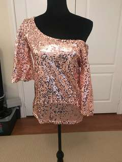BN off the shoulder rose gold top