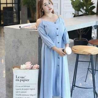 Cold Shoulder pLus size button dress