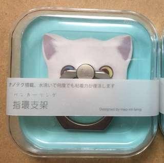 白色紫灰耳藍黃色眼睛得意貓貓iRing手機指環支撐架粘貼式