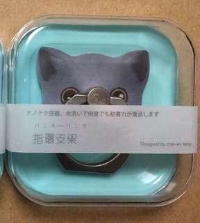 灰色黑耳黑色眼睛得意貓貓iRing手機指環支撐架粘貼式