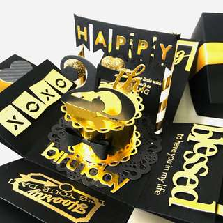 Happy 25th Birthday Explosion Box Card in black and gold