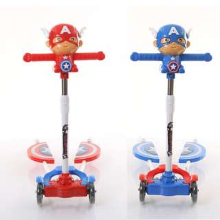 Marvel Cute Captain Children's Scooter Four Wheels Flash Swing Car Music Frog Scissor Scooter