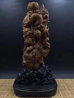 印尼沉香#雙龍戲珠#老料#高24,長12,厚8cm