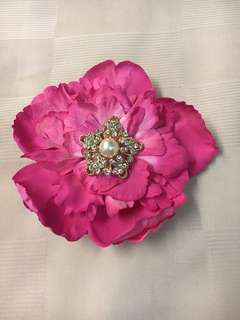 Pink peony with crystals