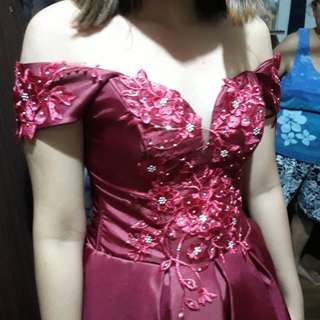 Red Off-shoulders gown for JS/Grad Ball