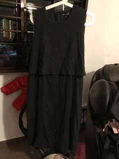 Black Midi Maternity & Nursing Dress Size XL