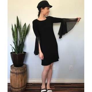 Black tunic dress, flowy sleeves- Size 6