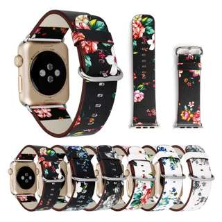 IWATCH BLACK & GREY FLORAL PATTERN LEATHER STRAP 38/42MM