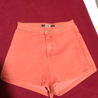 Pull&Bear Highwaist denim shorts (red)