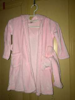 BN pink fluffy robe with hoodie