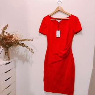 New DVF red dress size 6