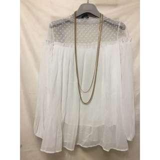 🚚 韓版白色百搭蕾絲拼接上衣 春夏新品上衣褲子下身短袖洋裝上身