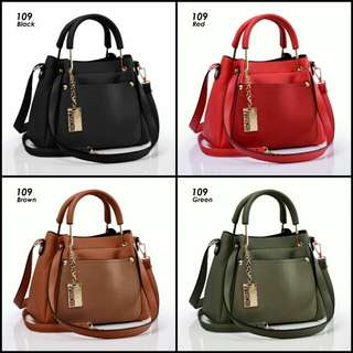 BONIA Raisya Series 109#. Measurements Base 25Cm Wide 11Cm Height 21Cm. Weight 850gram. Material Faux Togo Leather 4 Warna Black, Brown, Green, Red